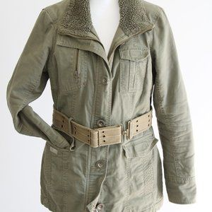 Military inspired coat with belt